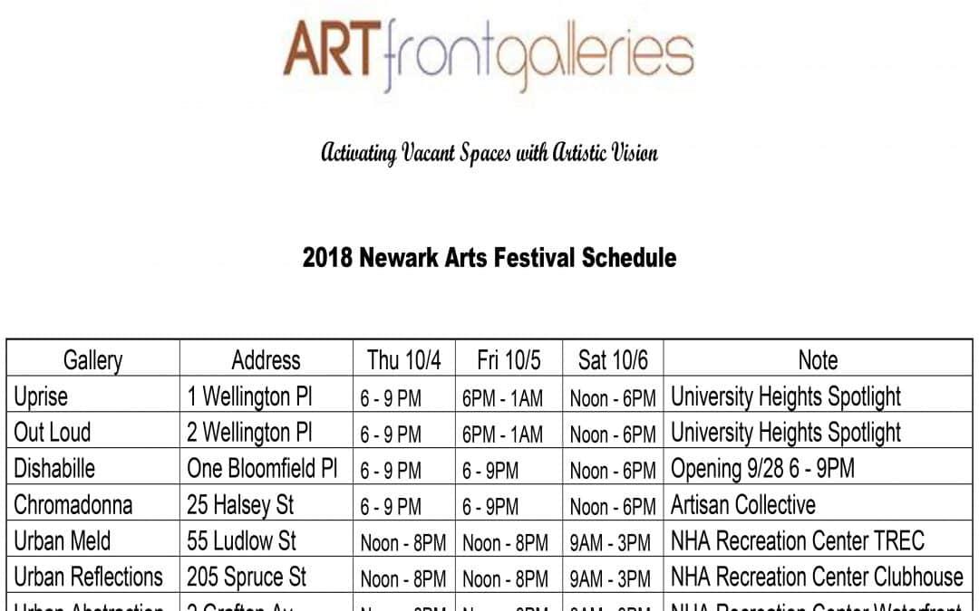 artfront galleries announces newark arts festival schedule